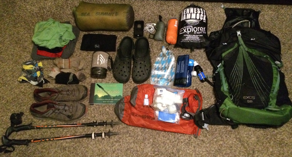 This is pretty much everything I carried minus a few items like bug spray, bug net, food, and smart water bottle.
